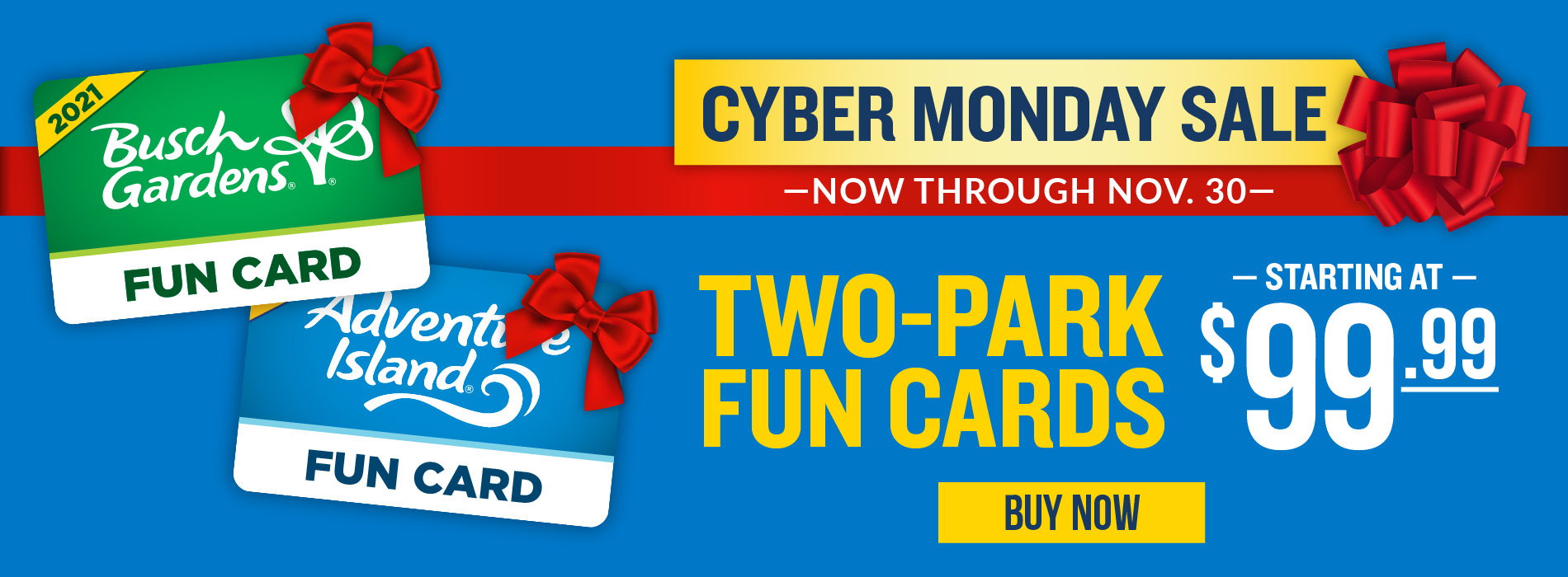 Cyber Monday Two Park Fun Cards $99.99