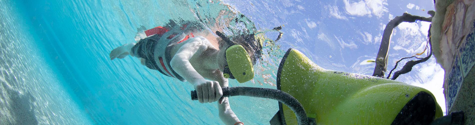 Boy Experiencing Virtual Reality Snorkeling