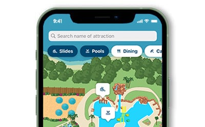 Map Section of the mobile app showing the Paradise Lagoon pool
