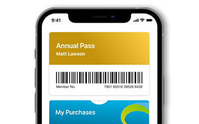 My Visit section of the Mobile App showing an Annual Pass.