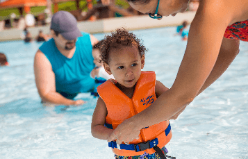 Kid friendly water slides and pools