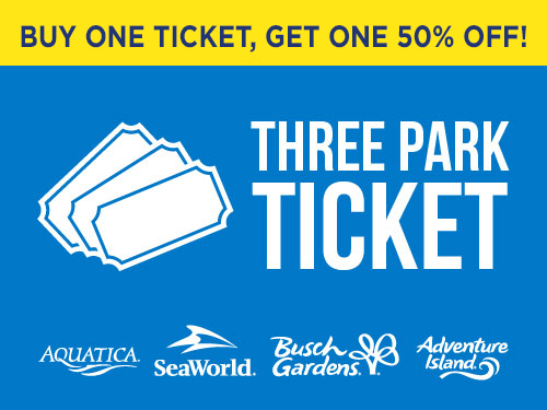 Buy one get one 50% off Three Park Ticket