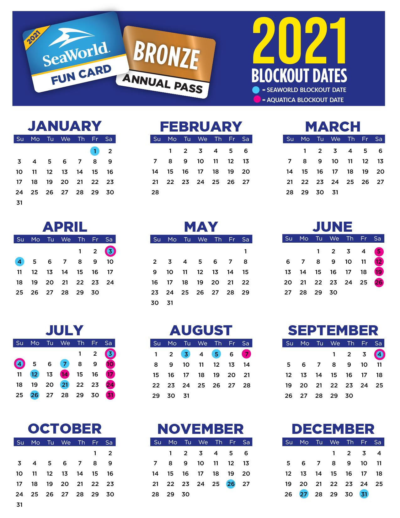 SeaWorld Orlando 2021 Blockout Dates