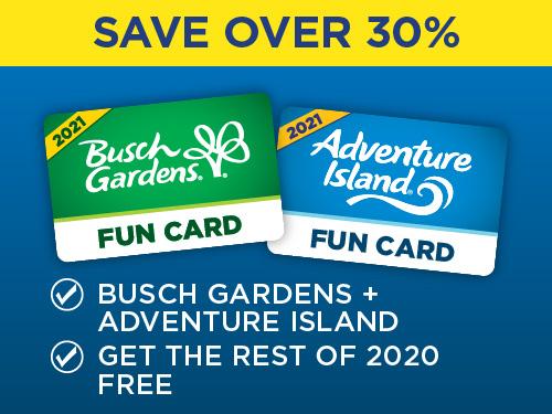 Save Over 30% on Adventure Island Busch Gardens Fun Card