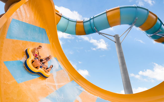 Experience a thrilling rush aboard a mega slide