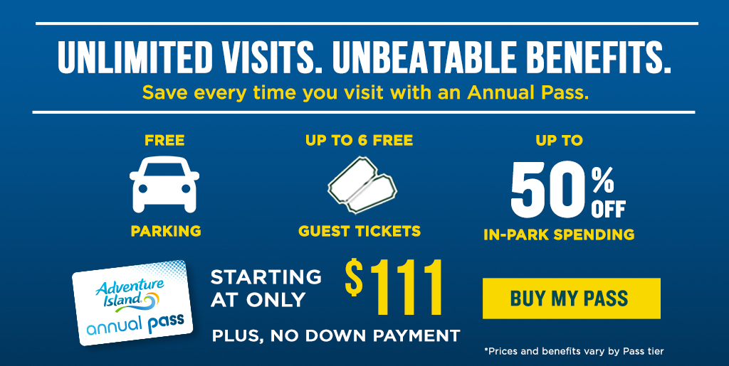All-New Annual Passes with our Best Benefits Ever! Starting at only $9.00 per month