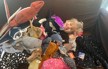 Jonas with his plush stingrays