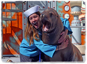 A trainer wearing a sailor cap hugs a sea lion while laughing.