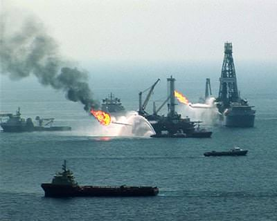 An oil platform on fire