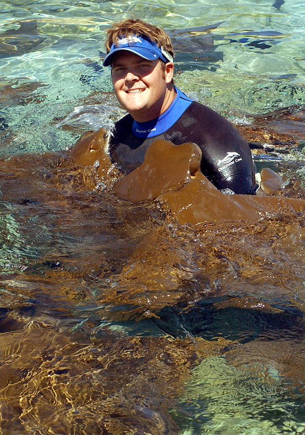A trainer in the water surrounded by cownose rays