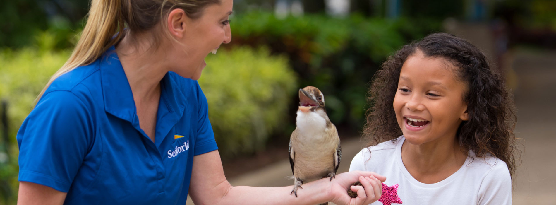Girl making connection with a bird at SeaWorld.