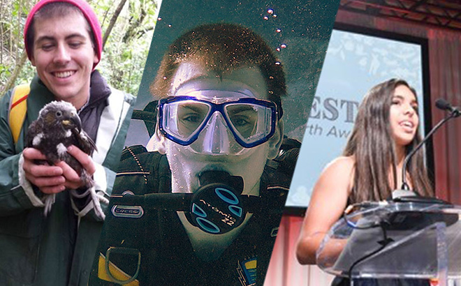 Teens who received SeaWorld's Environmental Excellence Awards