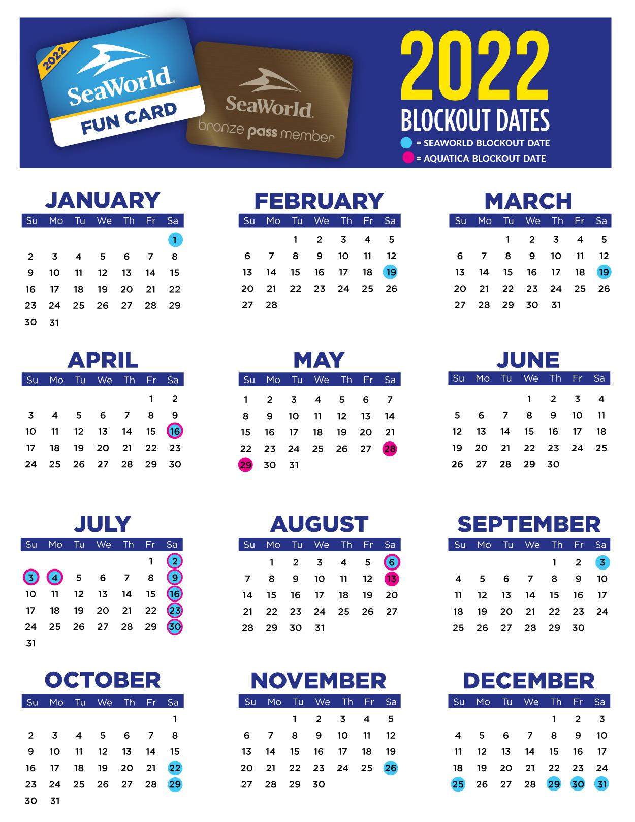 SeaWorld and Aquatica Orlando 2022 Bronze Annual Pass and Fun Card Blockout Date Calendar