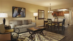 Hilton Grand Vacations at SeaWorld Living and Dining Areas