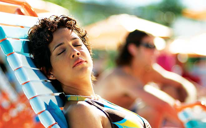 Enjoy relaxing lounge chairs on the beaches of Aquatica.