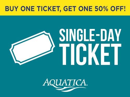 Buy one ticket, get one 50% off! Single day ticket to Aquatica Orlando
