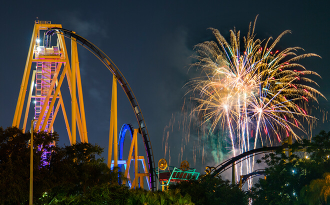 Fireworks during Summer Nights and Fourth of July at Busch Gardens Tampa Bay