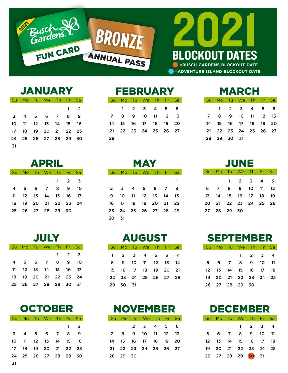 2021 Busch Gardens Tampa Bay Fun Card Blockout Dates