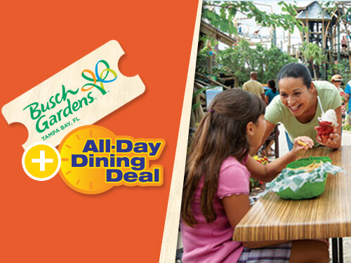 Play and dine at Busch Gardens Tampa Bay. Buy a single-day ticket and get an All-Day Dining Deal FREE
