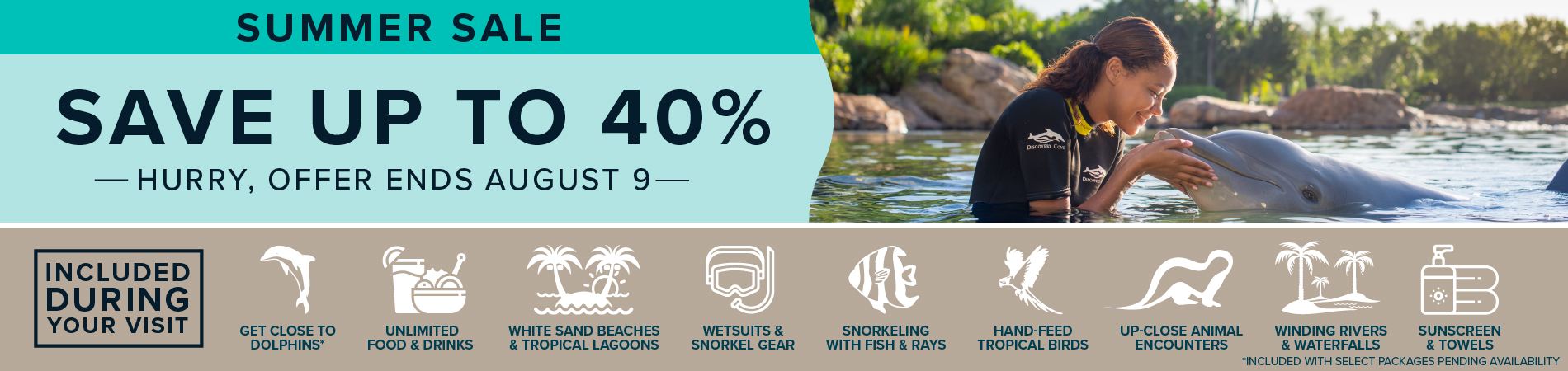 Discovery Cove Summer Sale