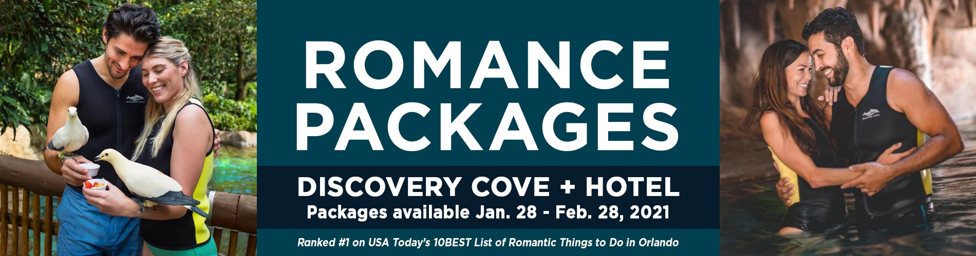 Purchase a Romance Package to enjoy a local Orlando Hotel and admission to Discovery Cove