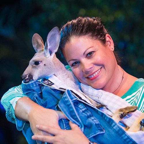 Maribel with kangaroo