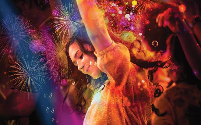 Woman Dancing at Electric Ocean