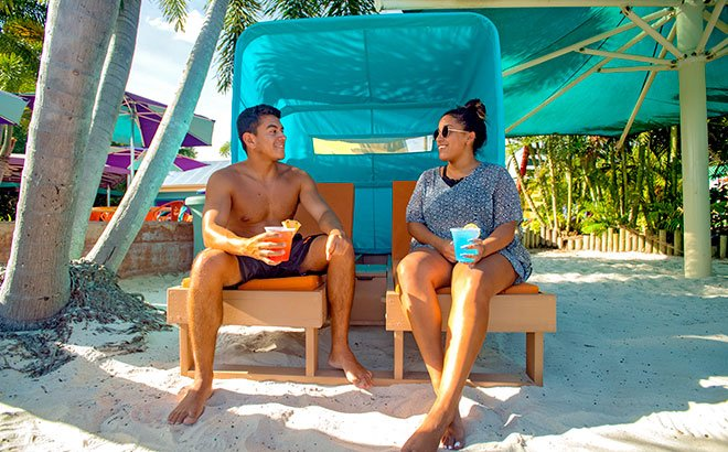 Loungers available at Aquatica Orlando