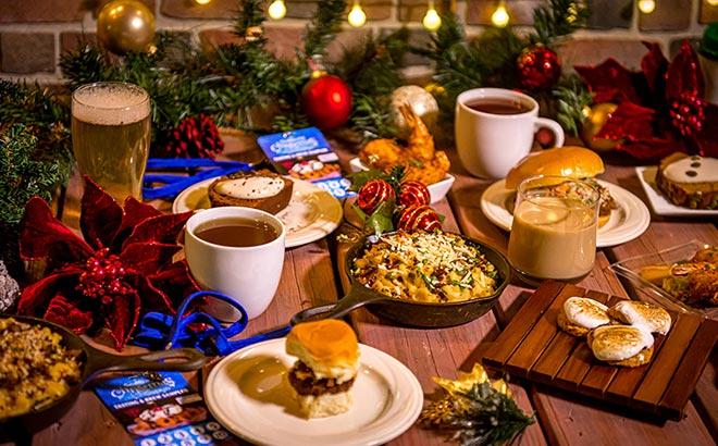 Christmas samples of food and drinks during SeaWorld Orlando Christmas Celebration
