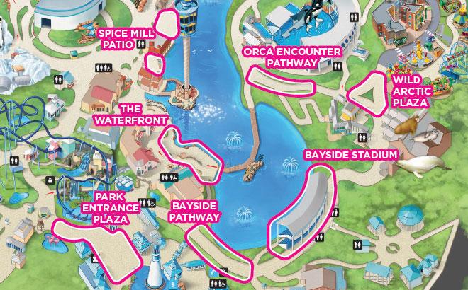 SeaWorld Orlando Fireworks Viewing Map