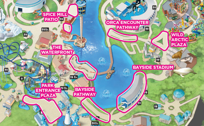 SeaWorld Orlando Fireworks Viewing Map