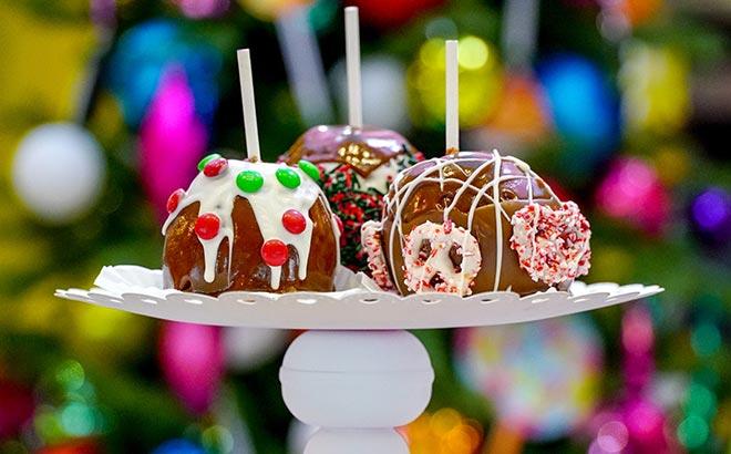 Festive Caramel Apples available during SeaWorld Orlando Christmas Celebration