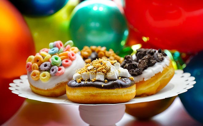 Festive Donuts with Toppings available during SeaWorld Orlando Christmas Celebration