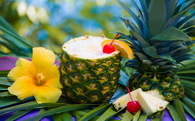 Pina Colada served in a pineapple