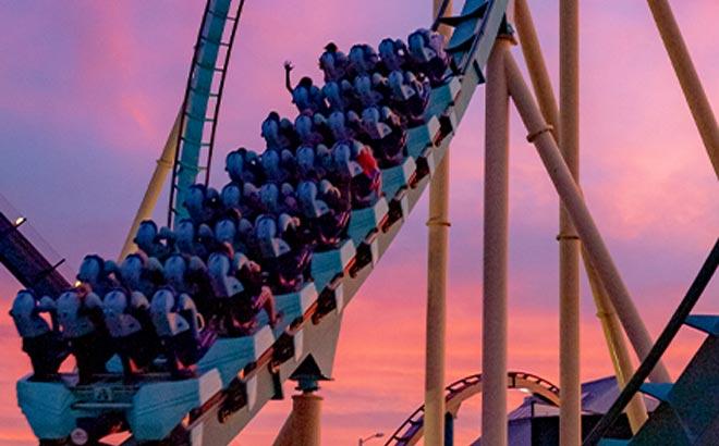 SeaWorld Orlando Kraken at dusk