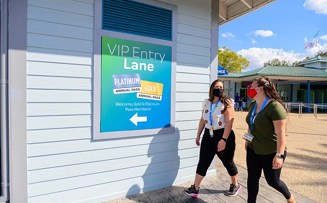 SeaWorld Orlando Gold and Platinum Pass Members going through VIP park entrance