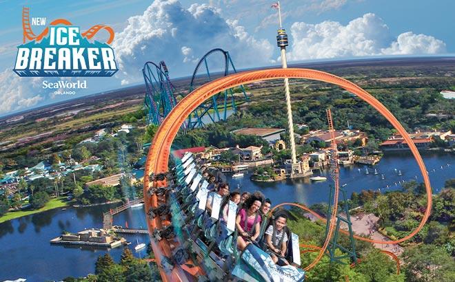 Ice Breaker roller coaster at SeaWorld Orlando