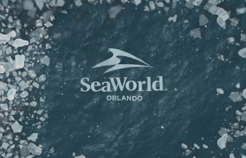 SeaWorld logo floating in ice filled water