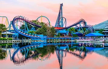 Mako rollercoaster at sunset