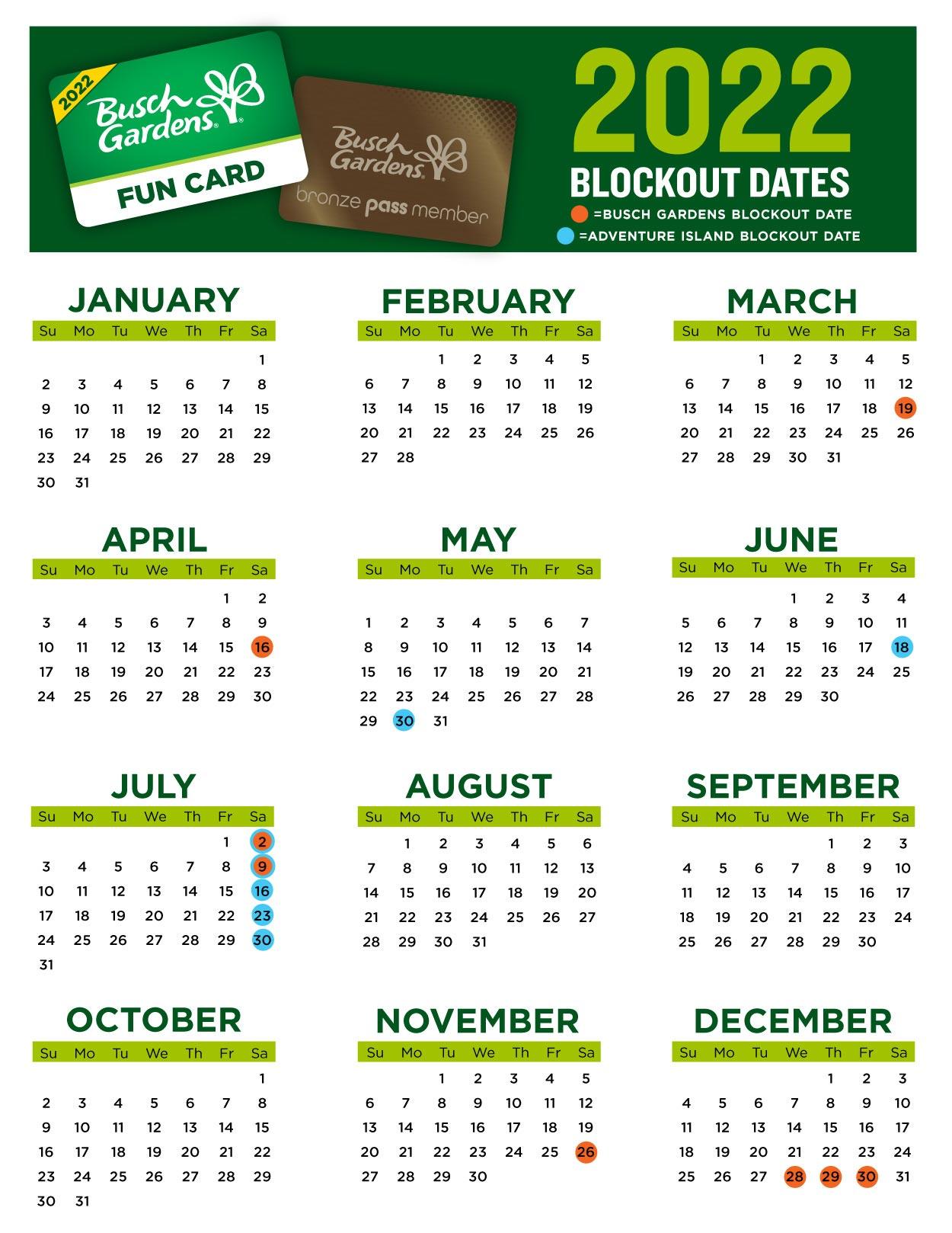 2022 Busch Gardens Tampa Bay Fun Card Blockout Dates