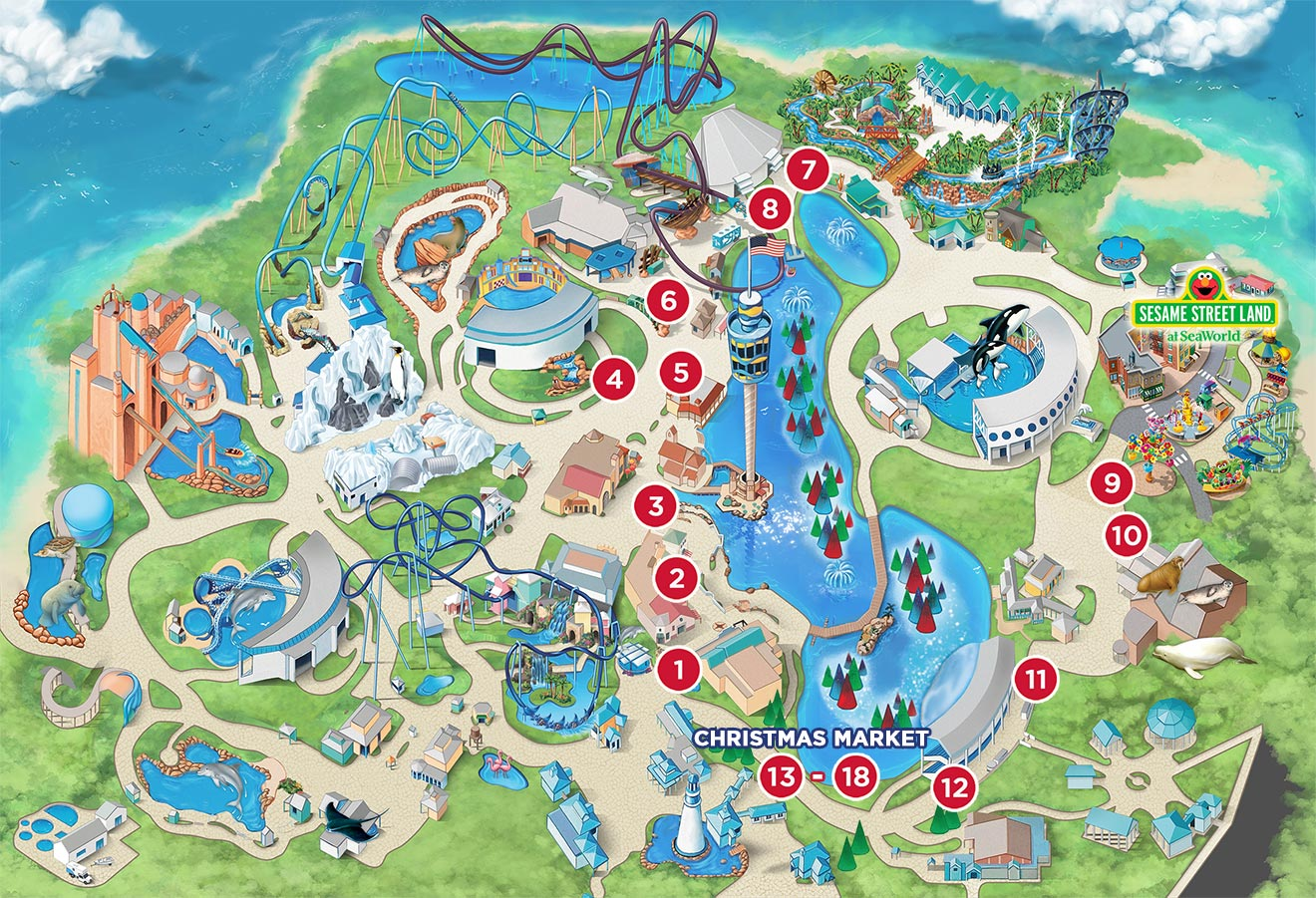 SeaWorld Orlando Christmas Celebration Food Booths Map