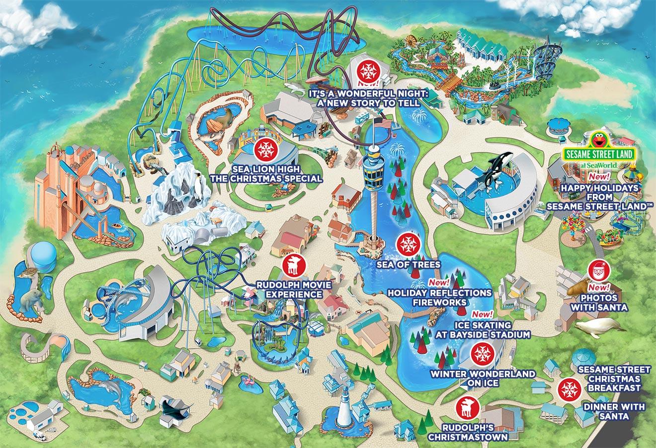SeaWorld Orlando Christmas Celebration Show Map