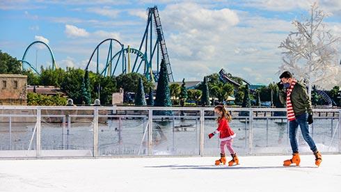 Ice Skating at Bayside Stadium during SeaWorld Orlando Christmas Celebration