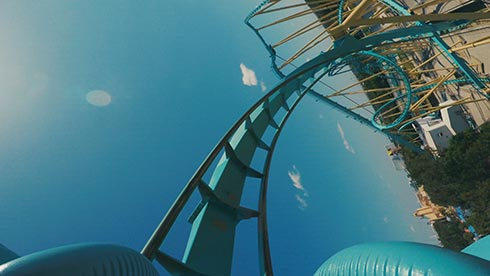 A riders point of view on Kraken rollercoaster at SeaWorld Orlando