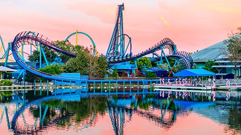 SeaWorld Orlando Mako rollercoaster at sunset