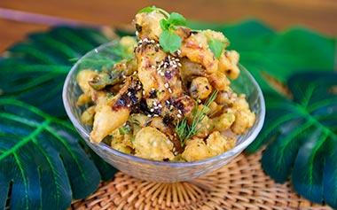 Tempura Mushrooms and Green Beans