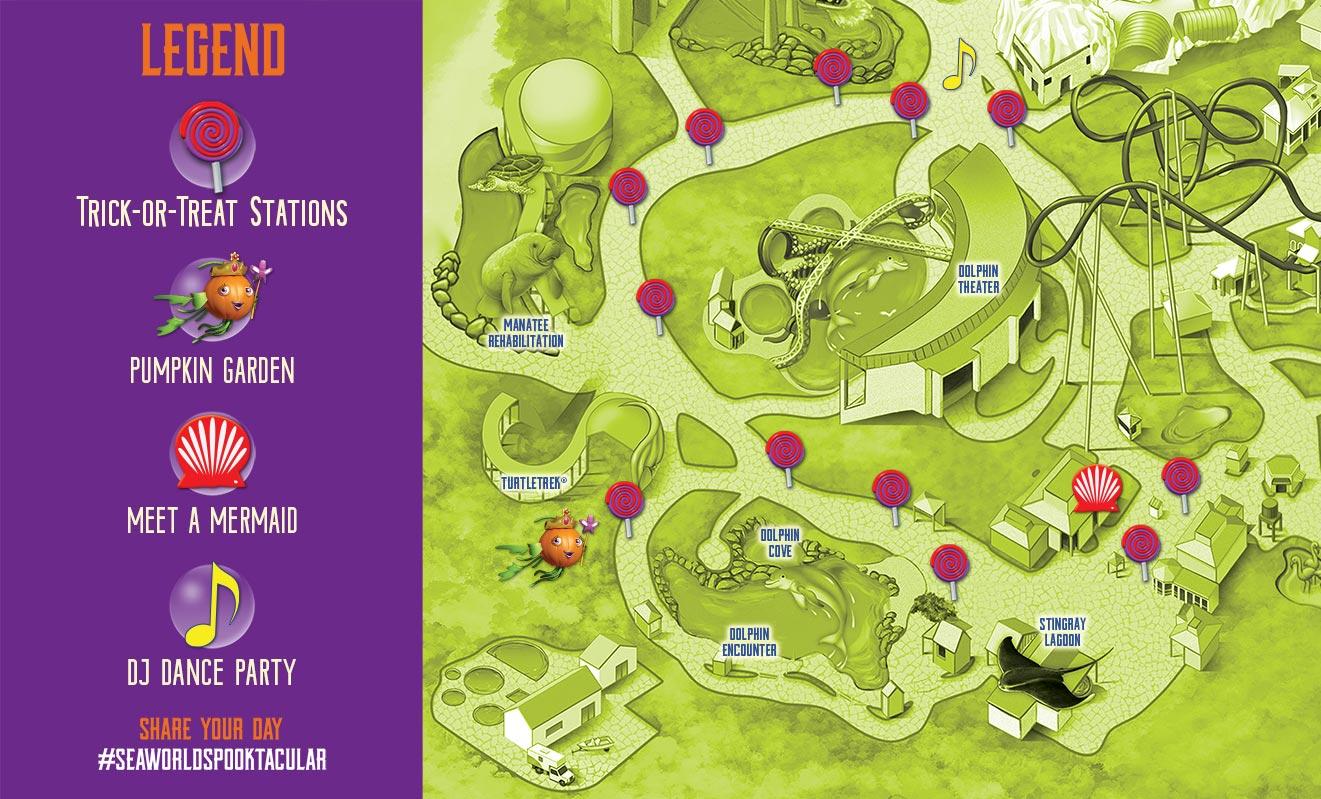SeaWorld Orlando Halloween Spooktacular Event Map