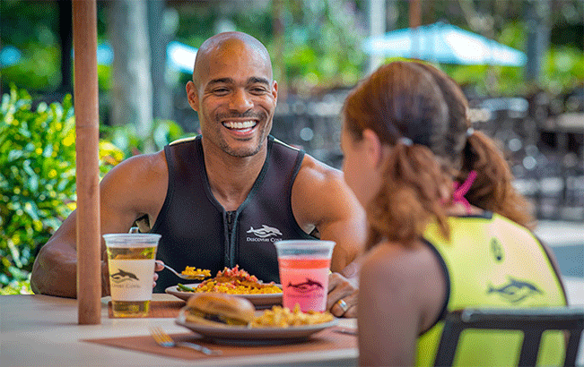 Enjoy delicious meals at Laguna Grill during a visit to Discovery Cove