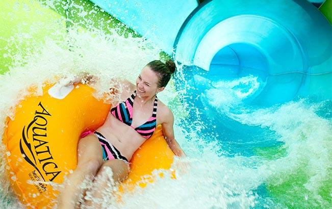 Slide and ride at Aquatica