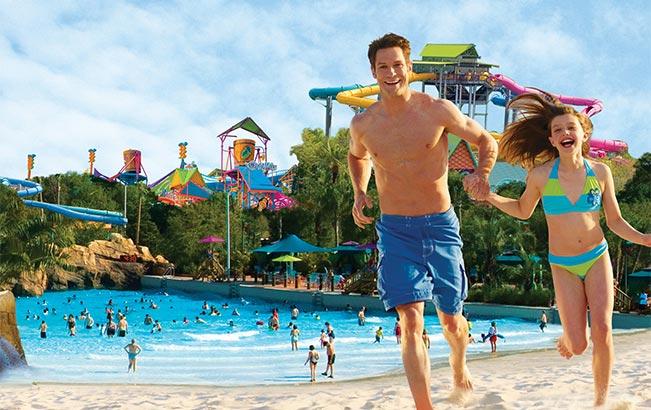 Play at the wave pool at Aquatica